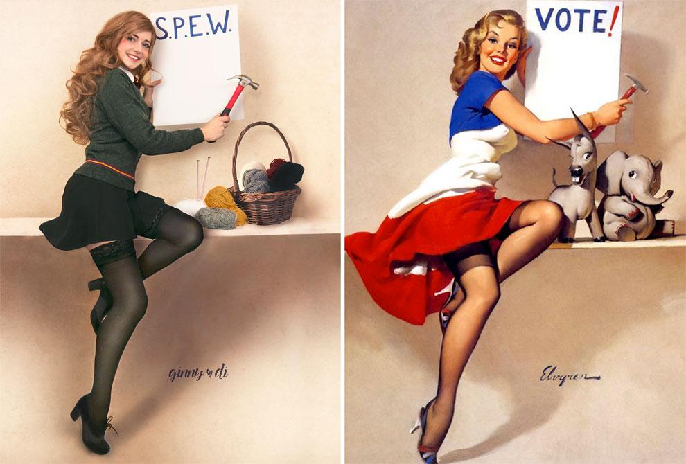 Как героини «Гарри Поттера» позируют в стиле пин-ап