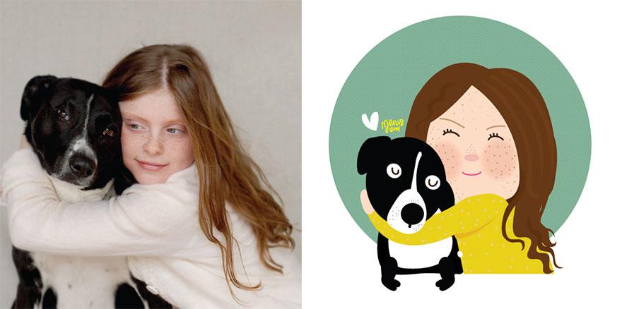 Художник превращает фото детей в забавные иллюстрации
